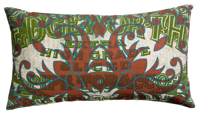 """Press Pillow, Edgeworth Tabacco and Tile Print, Green/Marron, 15"""" x 27"""" contemporary-decorative-pillows"""