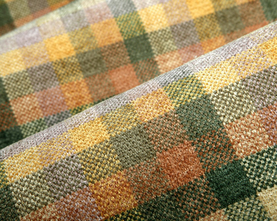 Cabin Fever Upholstery in Santa Fe - Cabin Fever Upholstery in Santa Fe.  A designer quality, soft plaid chenille upholstery fabric in warm green, yellow and peach color tones.  Sofa, easy chairs, throw pillows – the upholstery and re-upholstery options are endless.  This cozy plaid is discounted and offered at a great price.