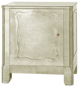 Marie Side Cabinet, Antique Mirror traditional-nightstands-and-bedside-tables