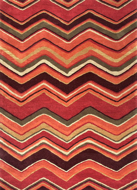 Modern Geometric Pattern Red Orange Wool Tufted Rug