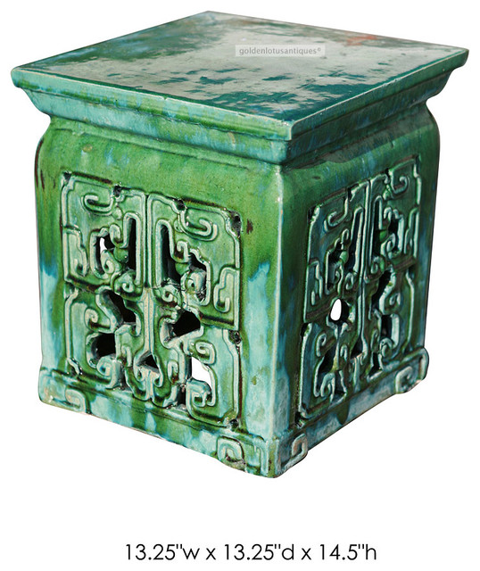 Chinese Green Turquoise Clay Ceramic Square Stool