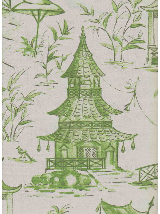Pagodas Cotton Fabric, Jade -