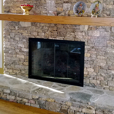 Fireplace Glass Doors transitional-living-room