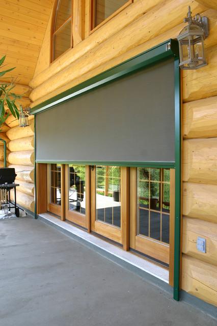 Habitat screen on log cabin traditional roller shades for Log cabin window treatments