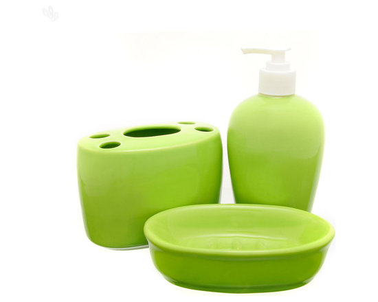 Home Spa - This hand painted ceramic bath set adds a touch of colour to your bathroom, making it more lively. The 3-piece set includes a soap dispenser, a toothbrush stand and a soap dish in a pleasant shade of pistachio green.