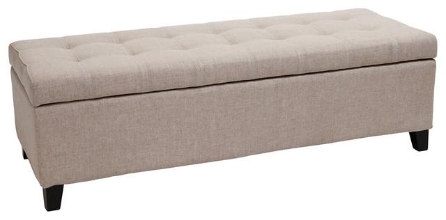 Santa Rosa Beige Tufted Fabric Storage Ottoman Bench