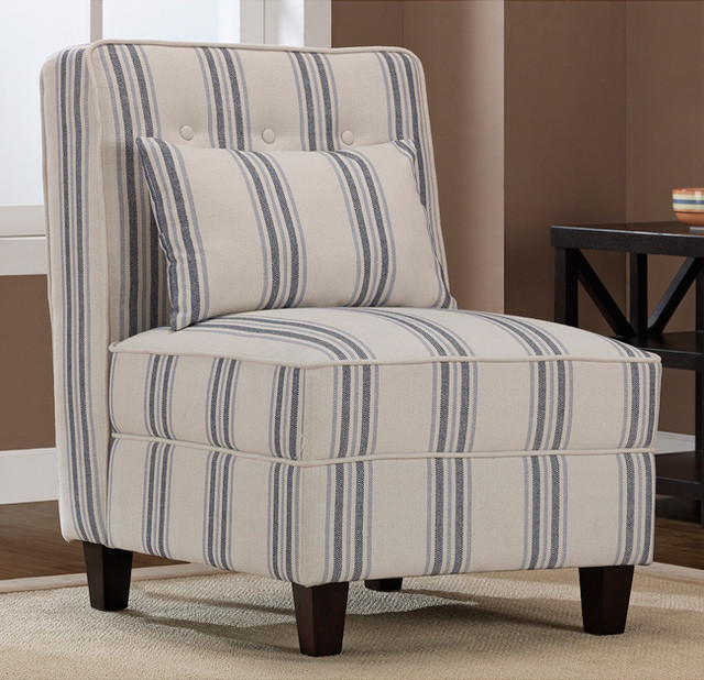 Mattie Tufted Slipper Blue/Cream Stripe Chair ...