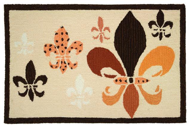 Fancy Fleur De Lis - Black & Tan Rug contemporary-rugs