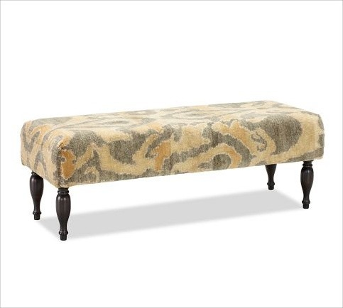 eclectic benches by Pottery Barn