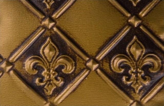 "WC 80 Faux Tin - Backsplash Roll - Fleur de Lis - 3 "" Pattern - Antique Brass wallpaper"