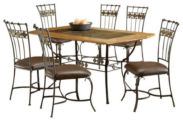 hillsdale lakeview 7 piece rectangle dining room set with slate side