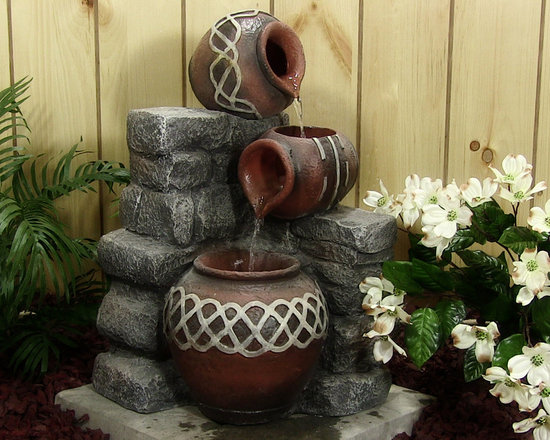 Outdoor Classics - Three Pots Pouring Fountain With LED Lights - A great corner piece for an enclosed patio or other outdoor area.  Some raised flower beds alongside homes may also permit the use of this traditional fountain.