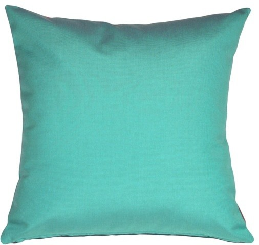 Modern Blue Outdoor Pillows : Pillow Decor - Sunbrella Aruba Turquoise Blue 20 x 20 Outdoor Pillow - Contemporary - Outdoor ...
