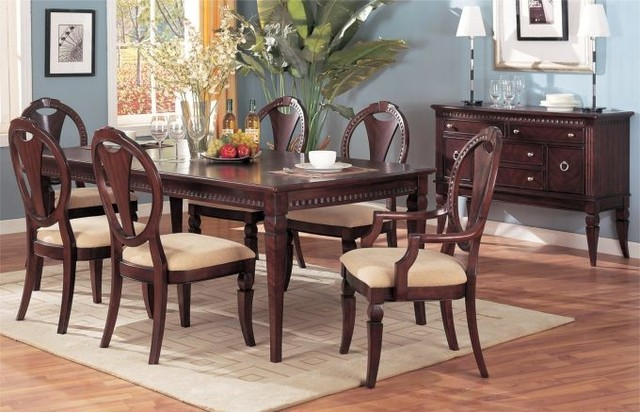 7 pieces milano dark cherry solid wood leaf table formal