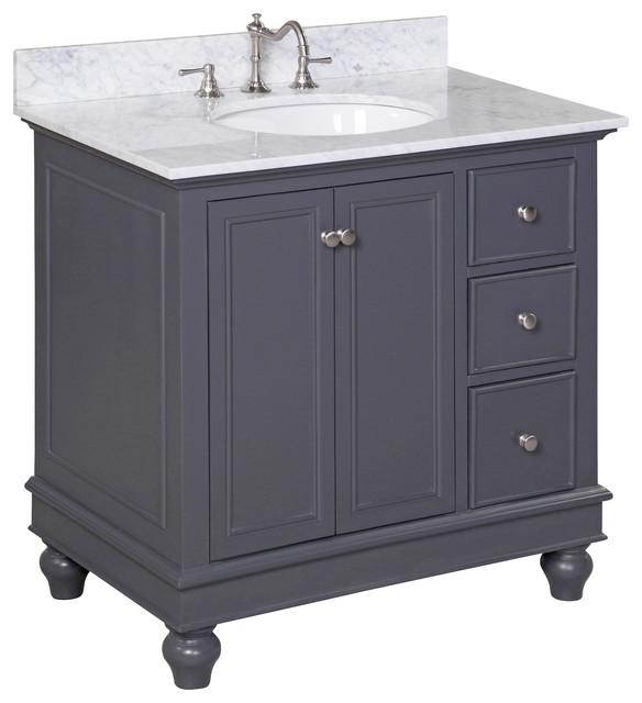 Bella 36 bath vanity carrara charcoal gray for Charcoal grey bathroom accessories