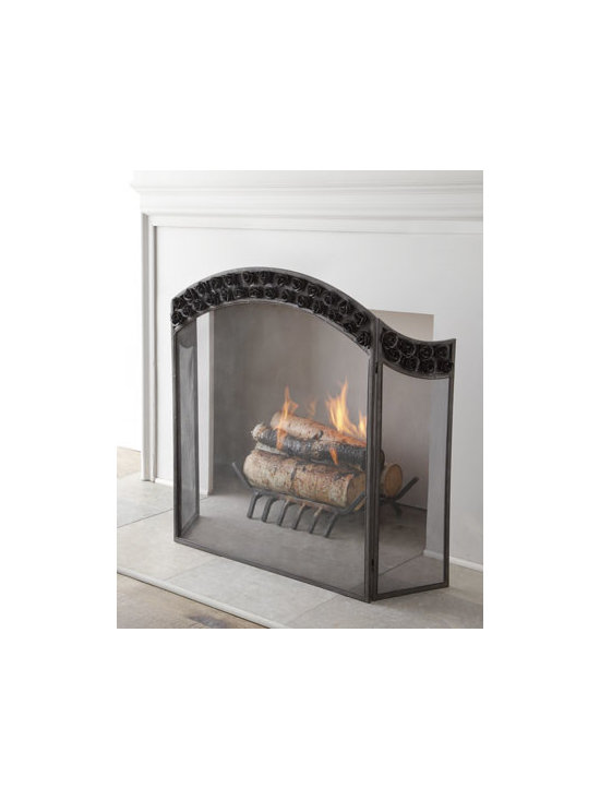 """Horchow - Arched Rose Fireplace Screen - The double row of roses arching across this fireplace screen adds a touch of romance to the hearth. Handcrafted of metal. Hand-painted black finish. 35.8""""W x 11""""D x 35.8""""T. Imported. Boxed weight, approximately 20 lbs. Please note that this item...."""