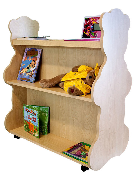 Mobile Baby Bookcase - Mobile Double Sided Bookcase Bear Natural Maple:This adorable mobile child's bookcase is perfect for to store all your child's favorite books and toys for years to come. The sylish design and wheels on the bottom make the  bookcase chic yet functional enough for any trendy home.