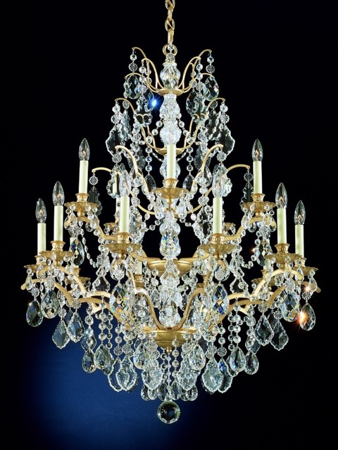 Schonbek bordeaux 15 light large crystal chandelier traditional chandeliers - Traditional crystal chandeliers ...