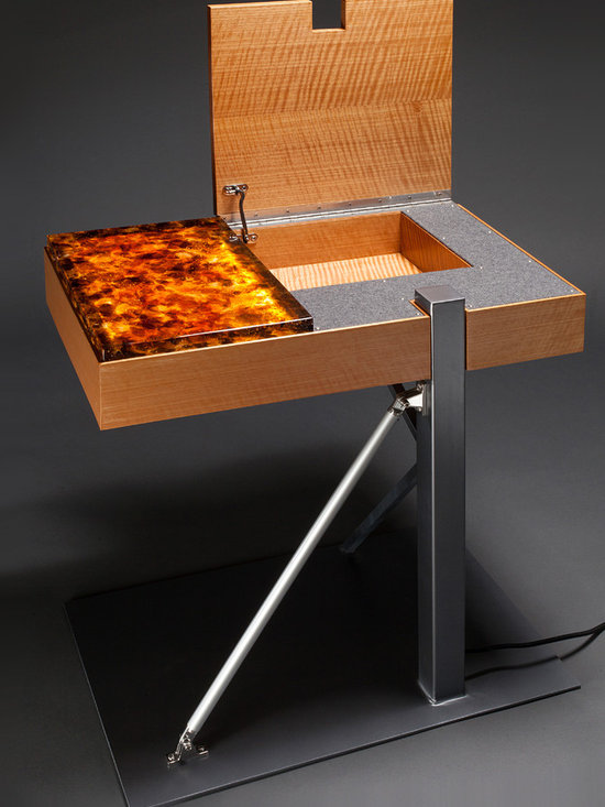 Amber Glow Side Table - Opening the table lid also reveals a beautiful interior compartment, perfect for storing remote controls. Stewart Tilger Photography
