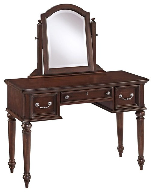 Classic Vanity and Mirror  Traditional  Bedroom &amp Makeup Vanities  by ShopLadder - Bedroom Makeup Vanity