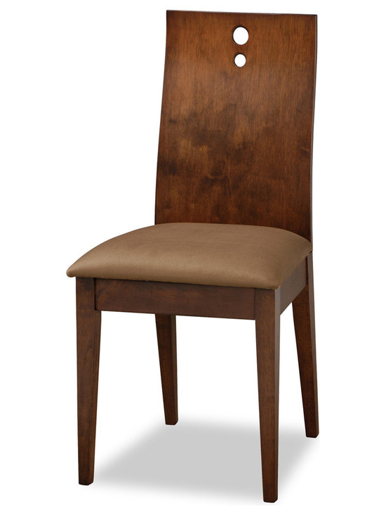 Bryght - Bella Brown Fabric Upholstered Cocoa Dining Chair - The Bella dining chair offers sophistication with a modern twist through its contemporary design. The one piece, two-dimensional curved backrest accentuated by three solid stainless steel bolts and a firm padded seating offers sturdiness with dependable comfort.