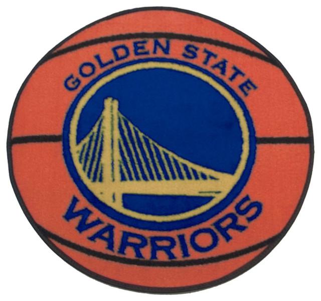 Large Basketball Area Rug: NBA Golden State Warriors Rug Basketball Shaped Mat