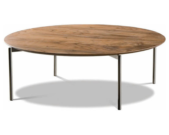 Minotti - Minotti Norman Round Coffee Table - The range of coffee tables, available in a three sizes, can be flexibly used within the various sets.  Available in two different verisons: in tempered extraclear glass or a walnut top.  Both versions are enhanced by tubular nickel-titanium finished frames.  Also, see Norman Square Coffee Table.  Price includes shipping to the USA.  Manufacured by Minotti.