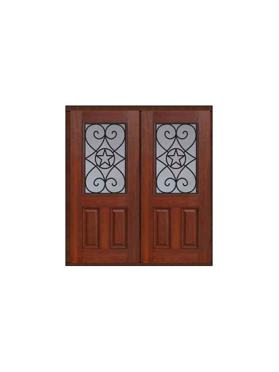 "Prehung Double Door 80 Fiberglass Austin Texas Star 1/2 Lite - SKU#    MCT012WA_DFHAG2Brand    GlassCraftDoor Type    ExteriorManufacturer Collection    1/2 Lite Entry DoorsDoor Model    AustinDoor Material    FiberglassWoodgrain    Veneer    Price    2910Door Size Options    2(32"")[5'-4""]  $02(36"")[6'-0""]  $0Core Type    Door Style    Texas StarDoor Lite Style    1/2 LiteDoor Panel Style    2 PanelHome Style Matching    Door Construction    Prehanging Options    PrehungPrehung Configuration    Double DoorDoor Thickness (Inches)    1.75Glass Thickness (Inches)    Glass Type    Double GlazedGlass Caming    Glass Features    Tempered glassGlass Style    Glass Texture    Glass Obscurity    Door Features    Door Approvals    Energy Star , TCEQ , Wind-load Rated , AMD , NFRC-IG , IRC , NFRC-Safety GlassDoor Finishes    Door Accessories    Weight (lbs)    603Crating Size    25"" (w)x 108"" (l)x 52"" (h)Lead Time    Slab Doors: 7 Business DaysPrehung:14 Business DaysPrefinished, PreHung:21 Business DaysWarranty    Five (5) years limited warranty for the Fiberglass FinishThree (3) years limited warranty for MasterGrain Door Panel"