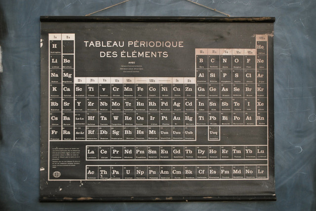 French Periodic Table, Black eclectic-artwork