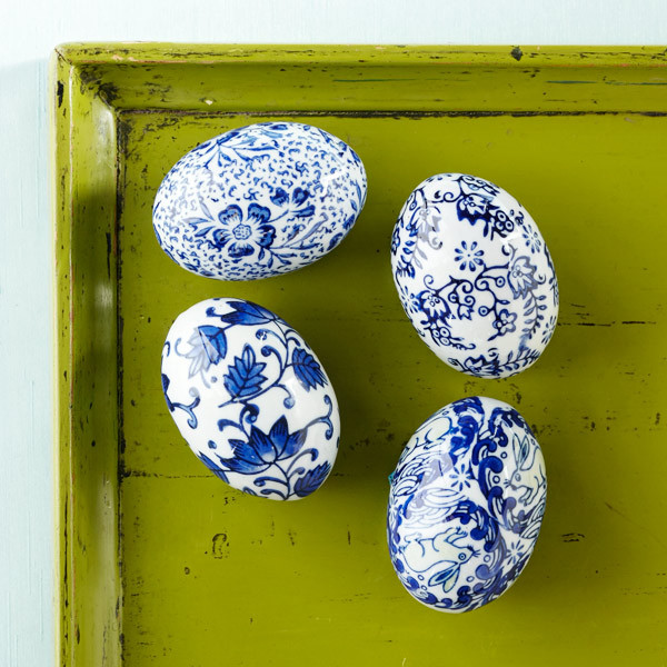 Blue And White Porcelain Eggs traditional-holiday-decorations