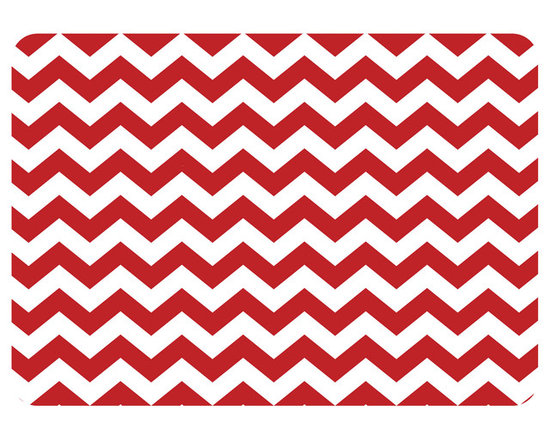 Bungalow Flooring - Premium Comfort Chevron Kitchen Mat, Red - Woven polyester face captures colors and graphics in near photographic quality.