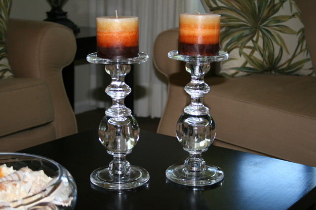 Solid Glass Pillar Holders/Candlesticks tropical-candles-and-candle-holders