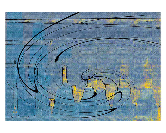 Blue Cityscape by Ben and Raisa Gertsberg - canvas art, art print, giclee - Blue and yellow decorative abstract inspired by expressionism and cubism styles. This fantasy cityscape feels whimsical and almost musical, it features strong and dynamic spiral patterns, as well as geometric rectangular and pyramid shapes found in modern architecture.