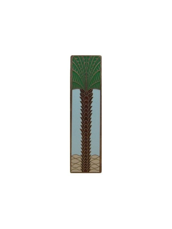 """Inviting Home - Vertical Royal Palm Pull (antique brass-pale blue) - Hand-cast Vertical Royal Palm Pull in antique brass-pale blue finish; 1""""W x 4""""H; Product Specification: Made in the USA. Fine-art foundry hand-pours and hand finished hardware knobs and pulls using Old World methods. Lifetime guaranteed against flaws in craftsmanship. Exceptional clarity of details and depth of relief. All knobs and pulls are hand cast from solid fine pewter or solid bronze. The term antique refers to special methods of treating metal so there is contrast between relief and recessed areas. Knobs and Pulls are lacquered to protect the finish."""