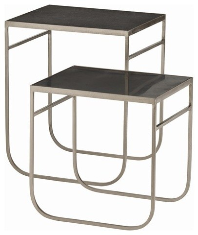 Arteriors Watkins Iron/Marble Nesting Tables, S/2 contemporary-side-tables-and-end-tables