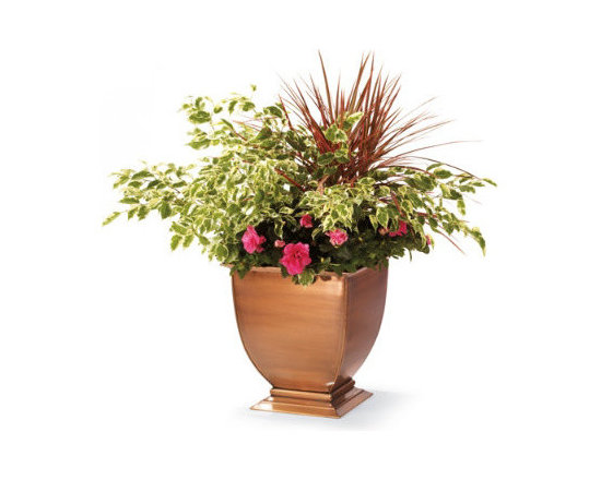 Grandin Road - Large Stainless Steel Planter - These All-Weather Footed Outdoor Planters are impeccably hand-patterned from solid, rust-free stainless steel. Burnished with a copper finish that will weather gracefully to a rich patina with time, these decorative urns showcase seasonal blossoms in distinctive style. Read our suggestions for what to plant.