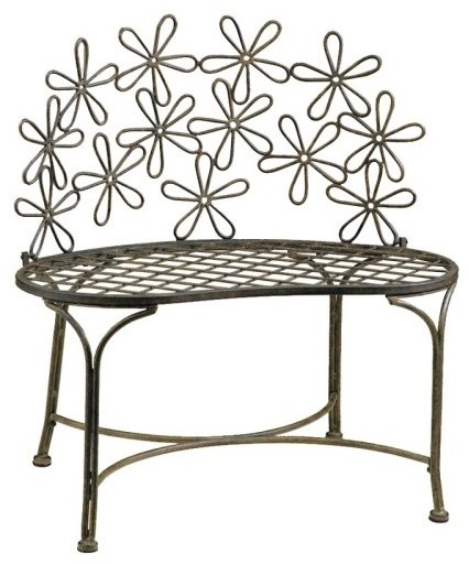 Deer Park Metal Daisy Bench Traditional Outdoor