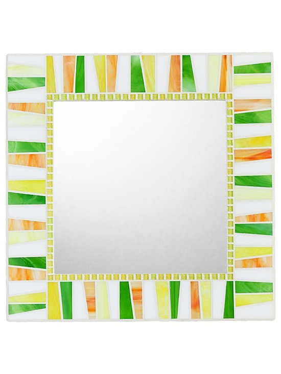 """Stained Glass Mosaic Mirrors - Handmade mosaic mirror created by mosaic artist Josh Hilzendeger. Mosaic design features yellow, apple green, orange, and white stained glass shades. Side edges of mosaic mirror frame are decorated with white venetian glass mosaic tile and white grout finishes off the mosaic border design. Custom sizes available; pricing varies on mirror size. Price listed is for 30"""" x 30"""" mirror. Jeff McLain Photography."""