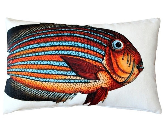 Pillow Decor - Pillow Decor - Surgeonfish Fish Pillow 12 x 20 - This double sided Surgeonfish decorative pillow is printed on both sides with the head and body of the fish on the front and the tail on the back. Printed on an indoor outdoor spun polyester fabric.