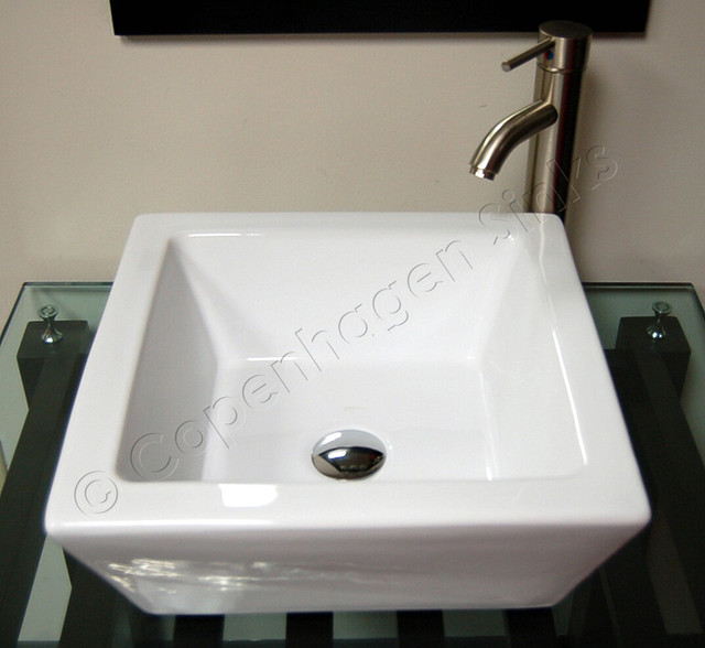 17in Modern Square White Porcelain Sink with Extra Thick Walls bathroom-sinks