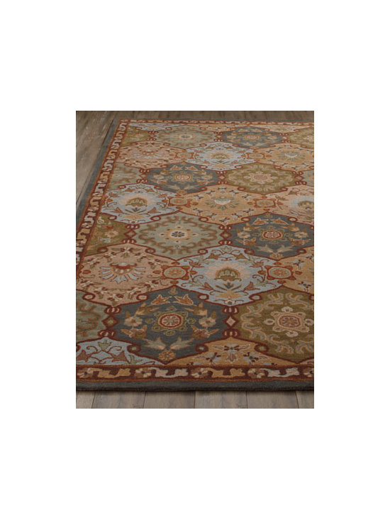 "Horchow - ""Adra"" Rug - Art for the floor, this stunning rug features a traditional panel tile design to bring warmth and color to any interior. Hand tufted of wool. Cotton/latex backing. Sizes are approximate. Imported. See our Rug Guide for tips on how to measure fo..."