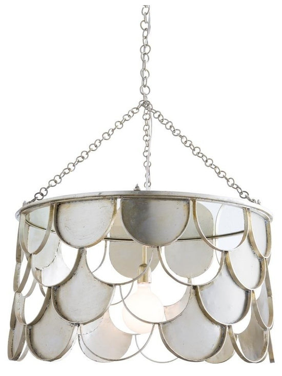 """Arteriors Lira Pendant - This delightful scalloped pattern is created with hand formed iron then finished in champagne leaf. The one light pendant has a speckled antiqued mirror on the interior of the top which reflects and enhances the light source. Shown with 4"""" frosted globe bulb. Additional chain available. Pendant Dim Dia: 30 Canopy Dimension H: 1.5 Canopy Dimension Dia: 5.75 Link Info: Welded Link - Bolt cutters needed Pipe/Chain Length: 3' Maximum Chain/Pipe Extension: 9.5'"""