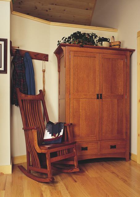 Mission style oak foyer furniture craftsman entry