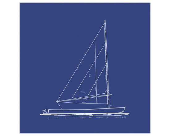 Big Fish Sailboat Blueprint In Blue II Wall Art