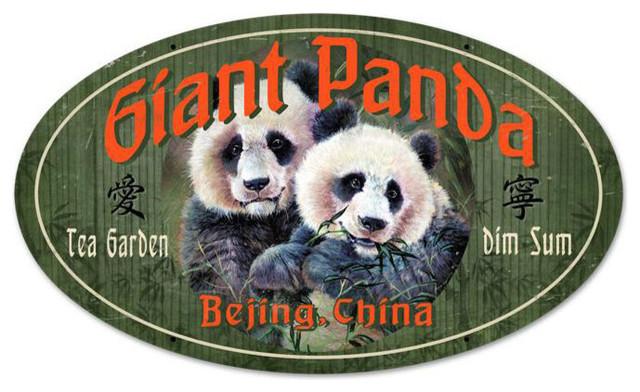Giant Panda Vintage Metal Sign modern-home-decor