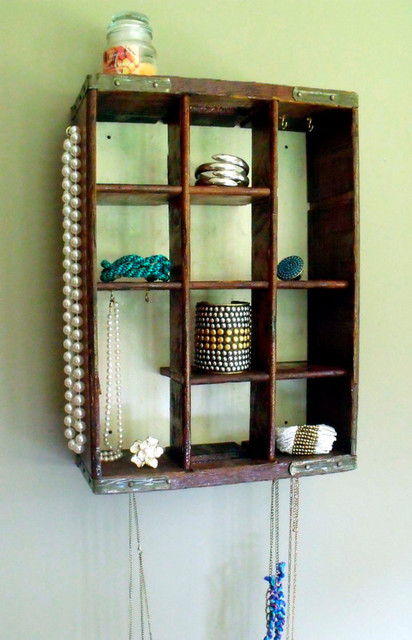 Repurposed Jewelry Display by stealthfox on Etsy eclectic-storage-bins-and-boxes