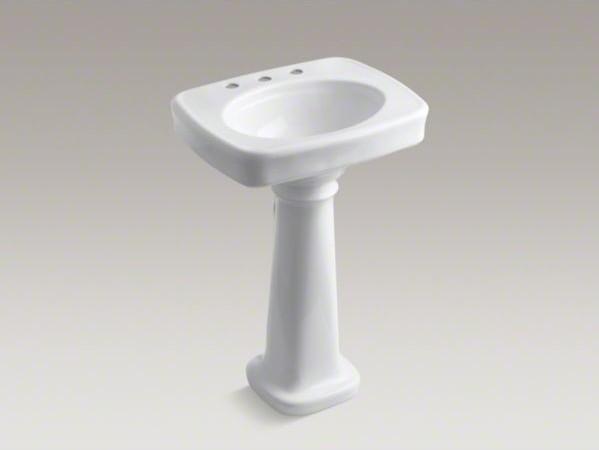 "KOHLER Bancroft(R)  24"" pedestal bathroom sink with 8"" widespread faucet holes contemporary-bathroom-sinks"