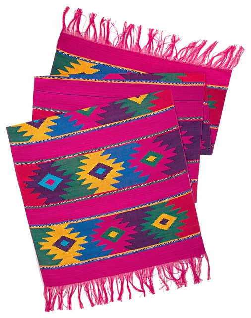 Mayan Table Runner in Pink eclectic-tablecloths