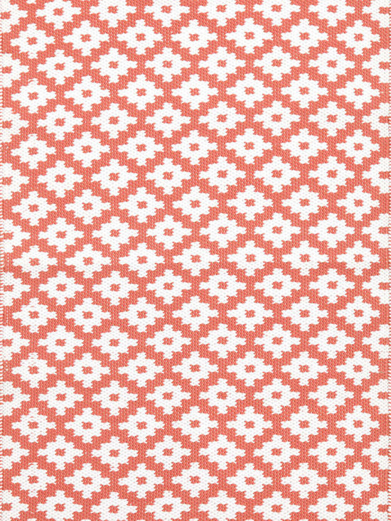 Samode Indoor-Outdoor Rug, Coral/White -