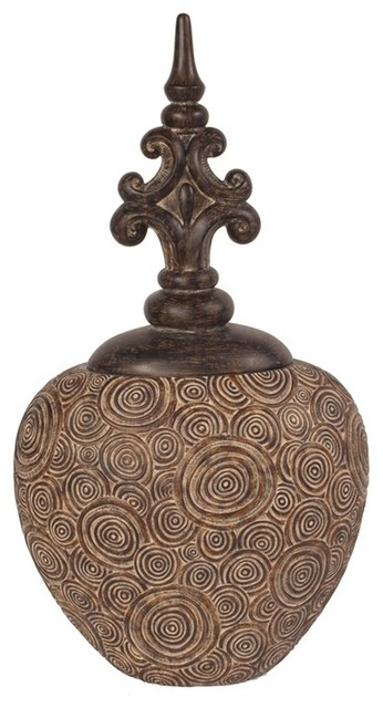 Howard Elliott Classic Antique Scrolled Aged Brown Round Urn modern-accessories-and-decor